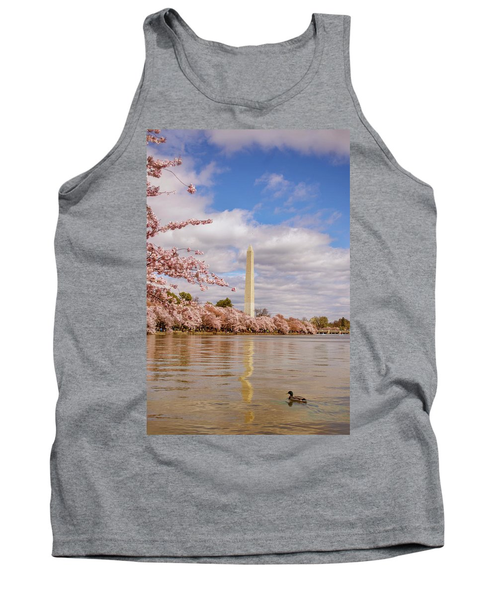 National Cherry Blossom Festival Tank Top featuring the photograph Washington Monument With Cherry Blossom by Rima Biswas