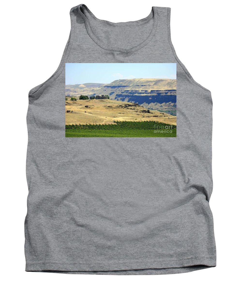 Washington State Tank Top featuring the photograph Washington Stonehenge With Vineyard by Carol Groenen