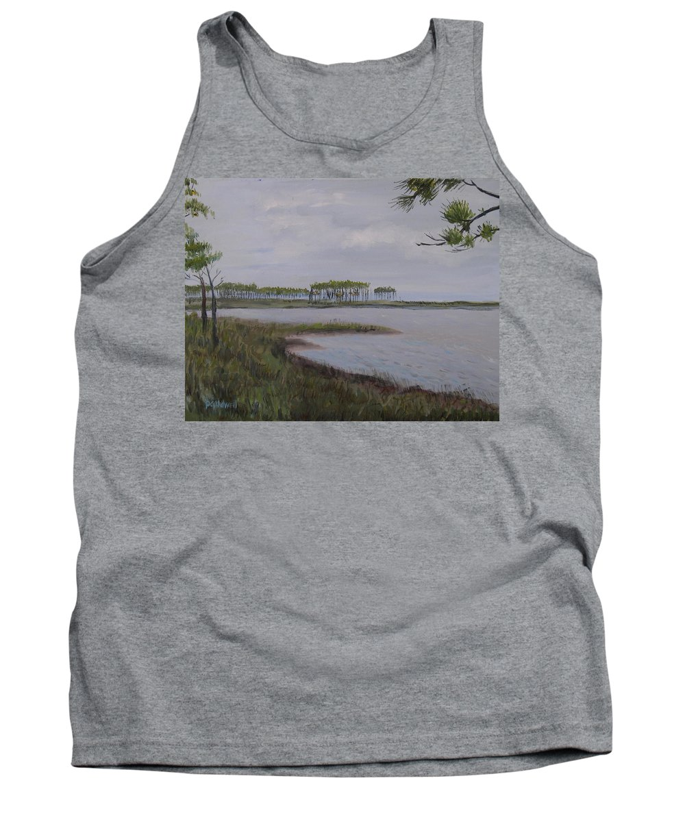 Landscape Beach Coast Tree Water Tank Top featuring the painting Water Color by Patricia Caldwell