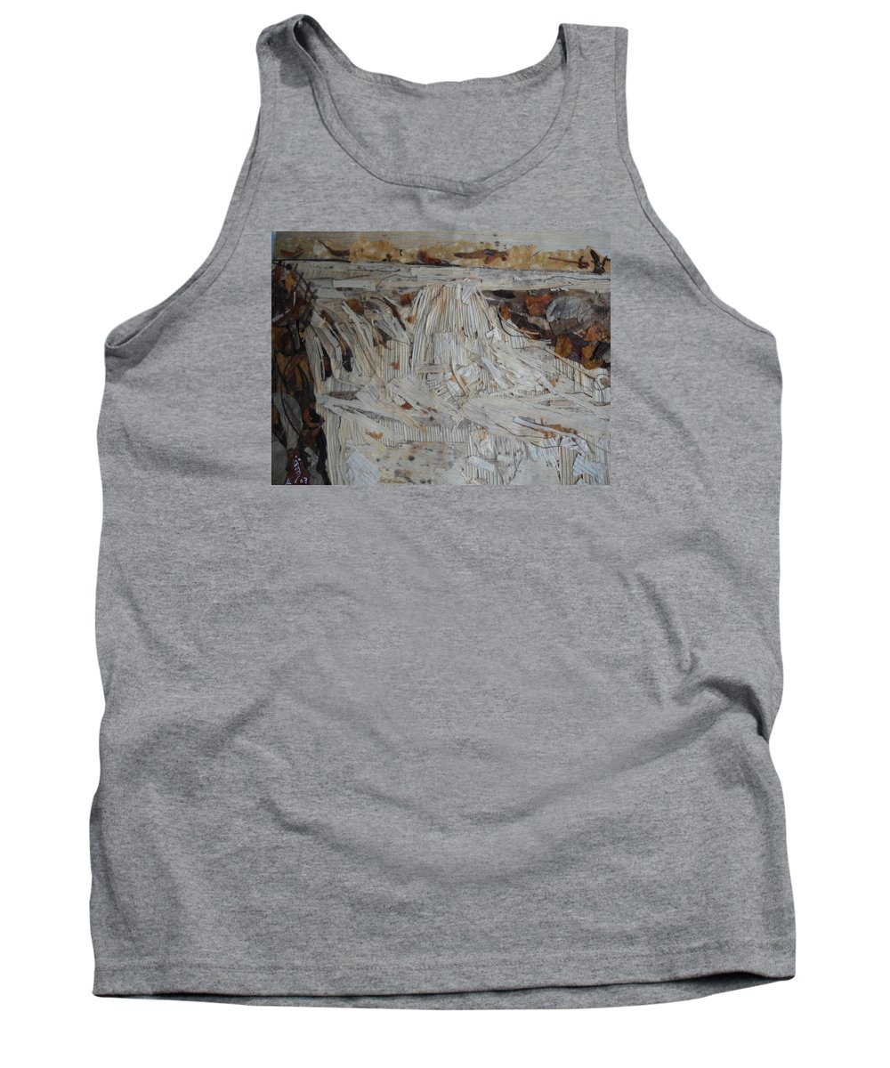 Water Fall Tank Top featuring the mixed media Water-fall After Rainy Season by Basant Soni