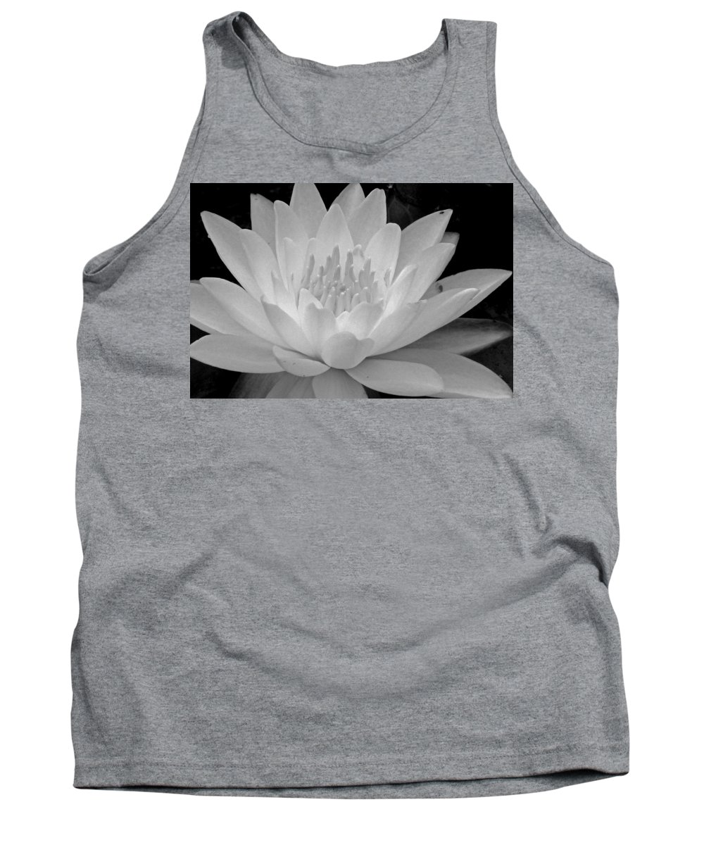 Water Lily Tank Top featuring the photograph Water Lily In Black And White by Janine Moss