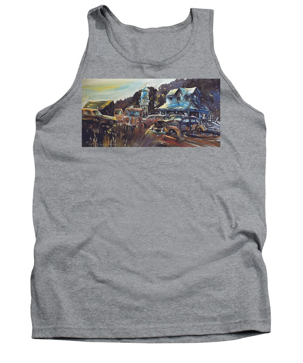 Old Cars Tank Top featuring the painting Water Tower Wardens by Ron Morrison