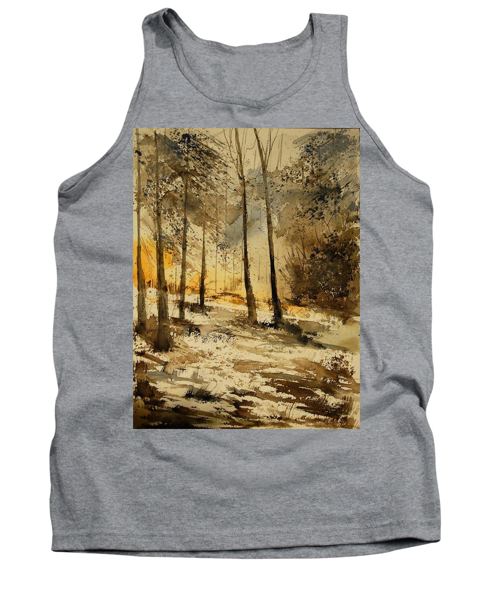 Tree Tank Top featuring the painting Watercolor 191106 by Pol Ledent