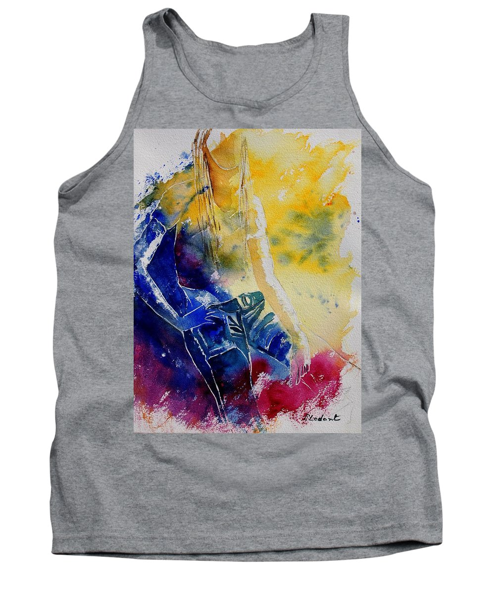 Girl Nude Tank Top featuring the painting Watercolor 21546 by Pol Ledent