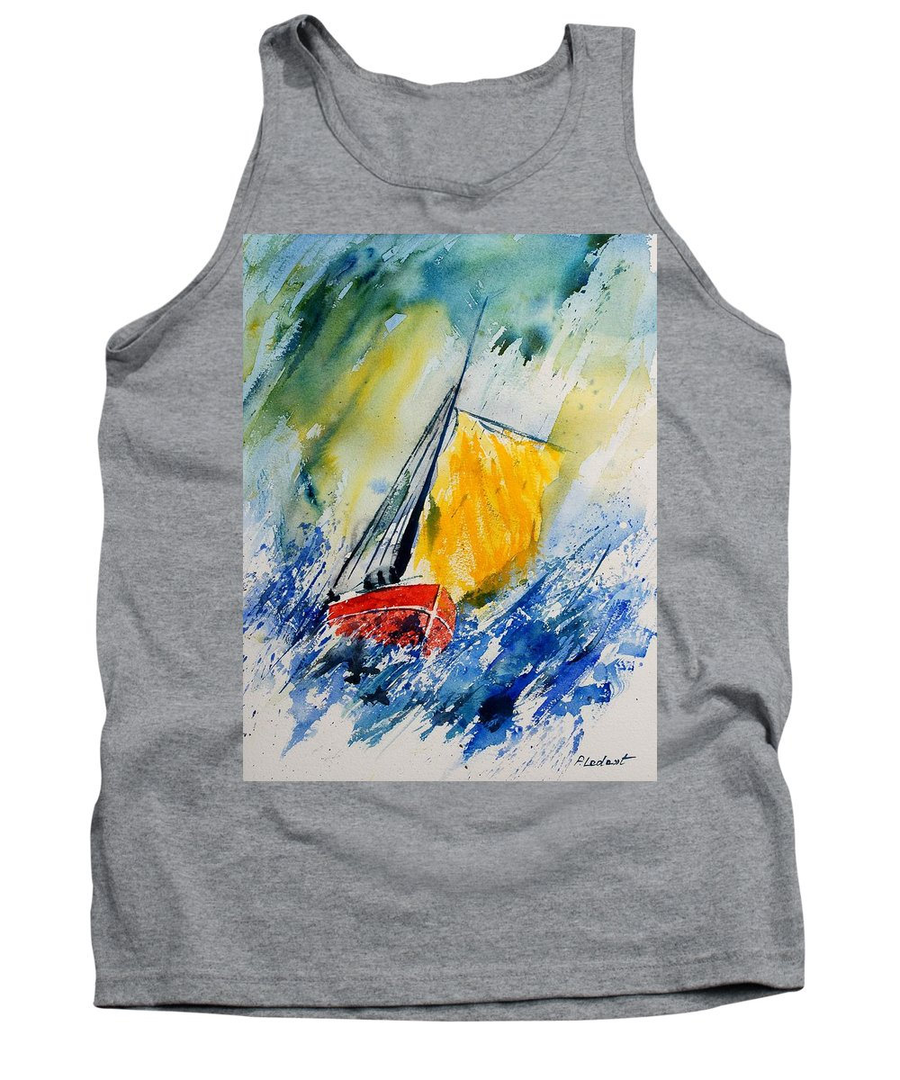 Sea Waves Ocean Boat Sailing Tank Top featuring the painting Watercolor 280308 by Pol Ledent