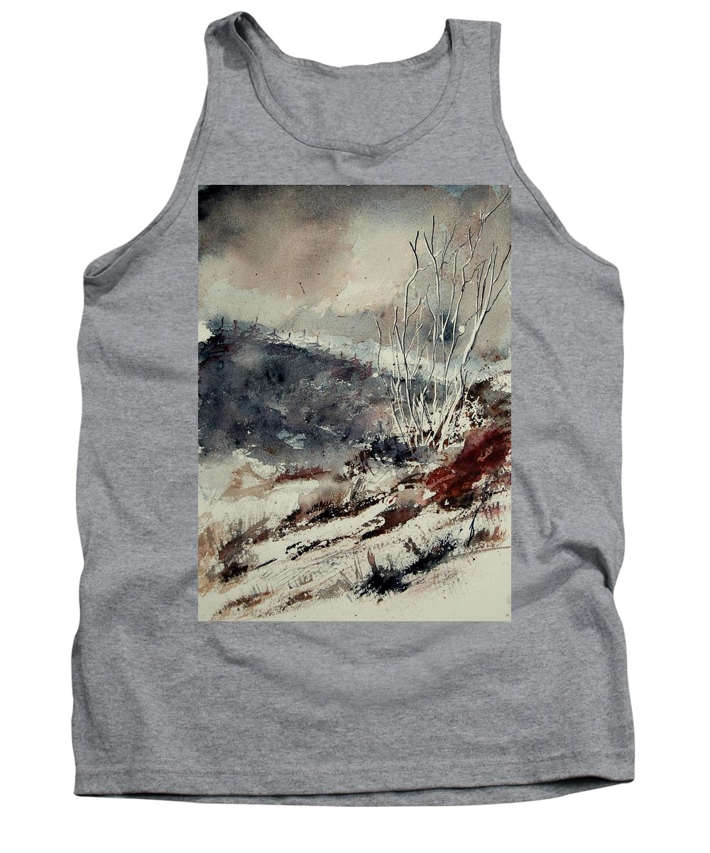 Snow Tank Top featuring the print Watercolor 446 by Pol Ledent