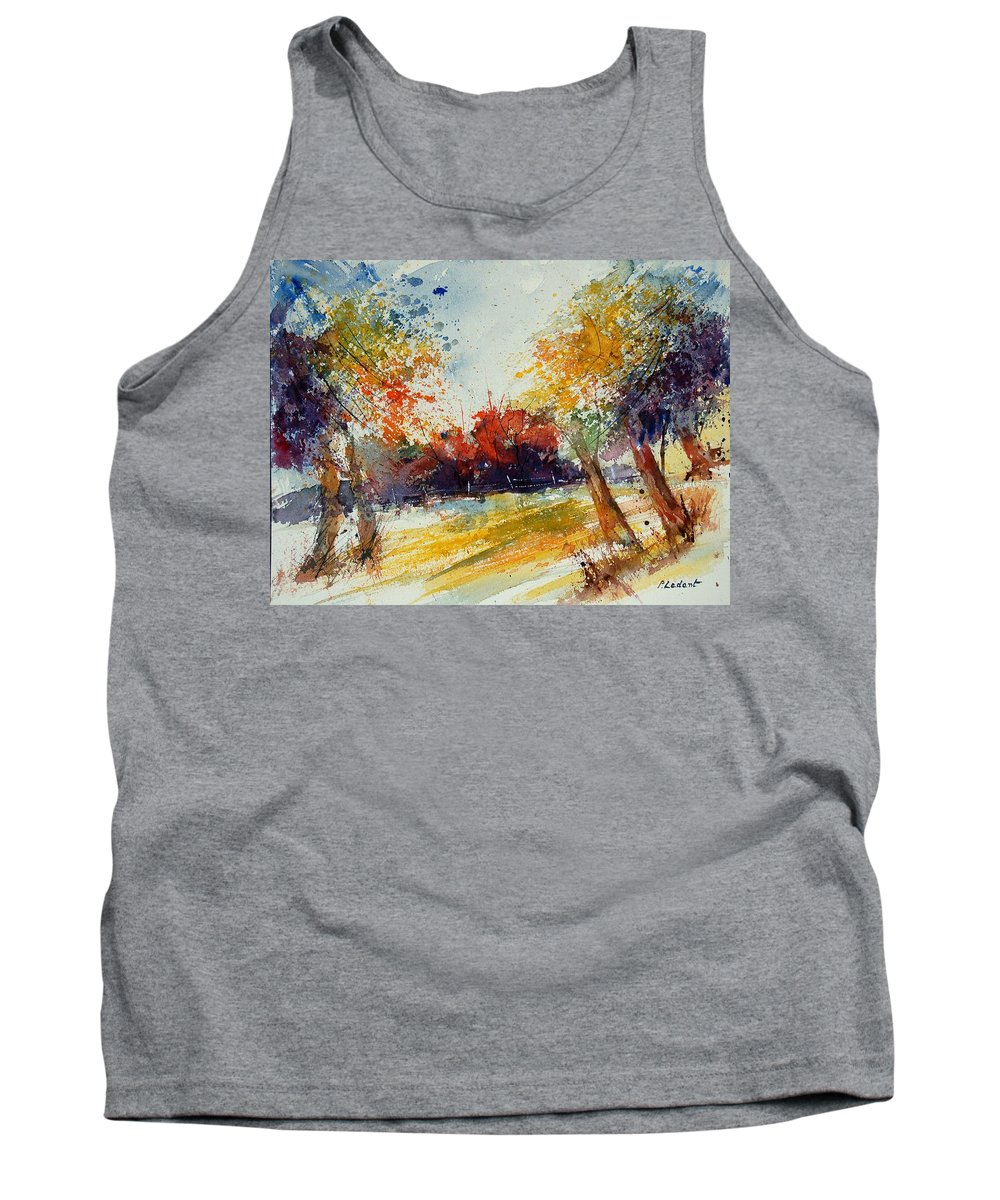 Tree Tank Top featuring the painting Watercolor 902010 by Pol Ledent