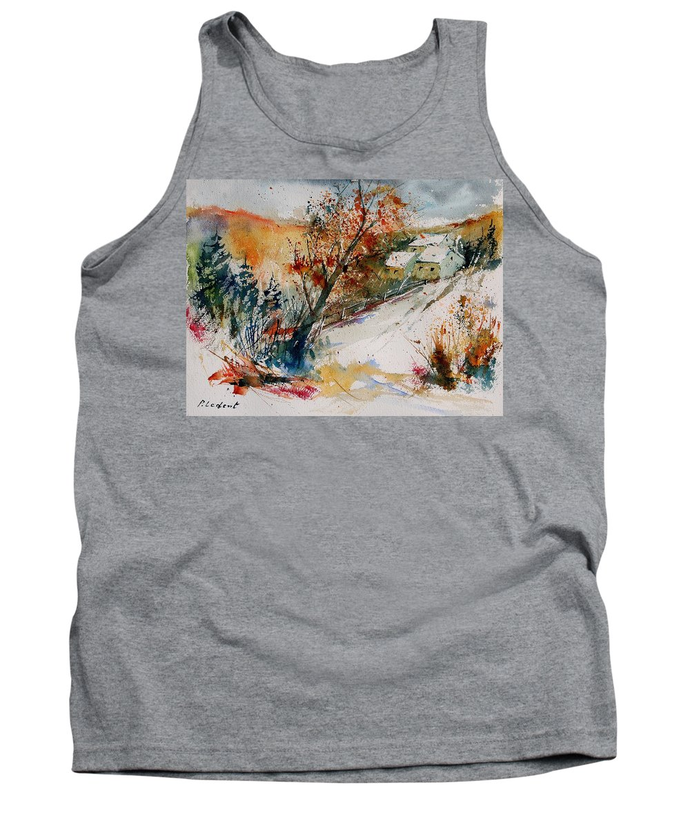 Tree Tank Top featuring the painting Watercolor 908002 by Pol Ledent