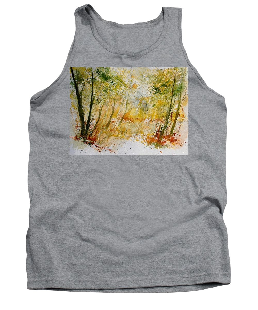 Tree Tank Top featuring the painting Watercolor 908012 by Pol Ledent