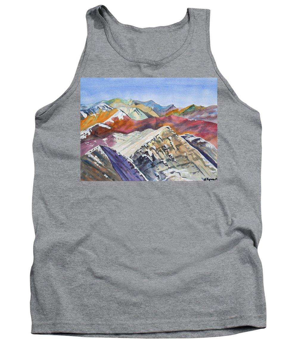 Elk Range Tank Top featuring the painting Watercolor - Colorado Elk Range View by Cascade Colors