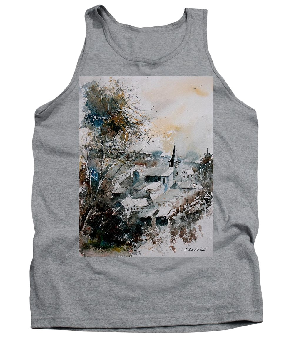 Winter Tank Top featuring the painting Watercolor Houyet by Pol Ledent