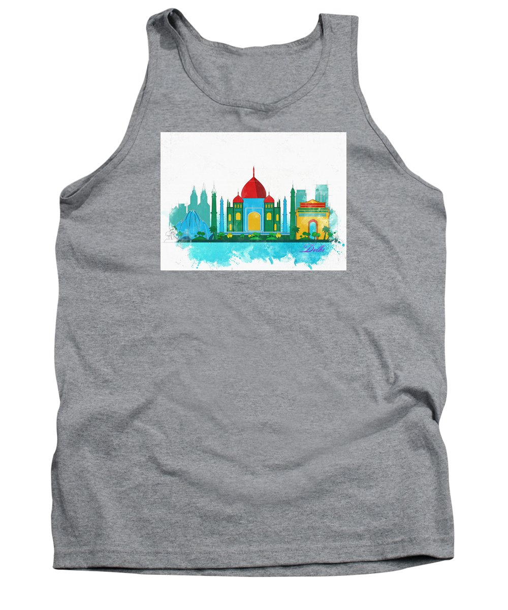 Poster Tank Top featuring the digital art Watercolor Illustration Of Delhi by Don Kuing