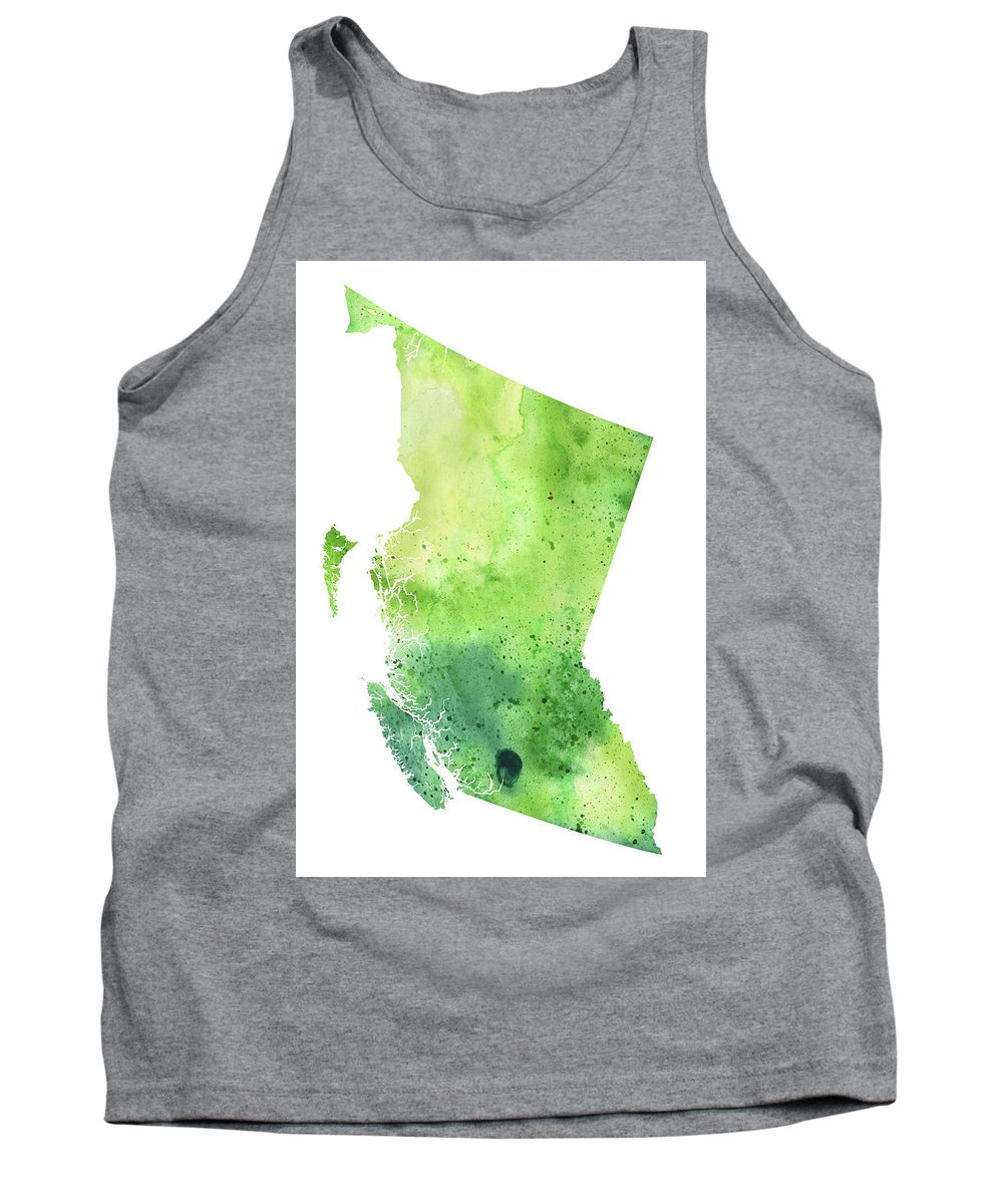 Canada Tank Top featuring the painting Watercolor Map Of British Columbia, Canada In Green by Andrea Hill