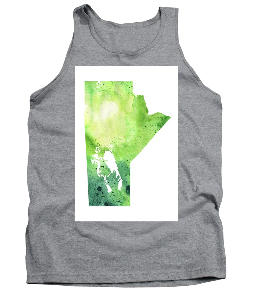 Canada Tank Top featuring the painting Watercolor Map Of Manitoba, Canada In Green by Andrea Hill
