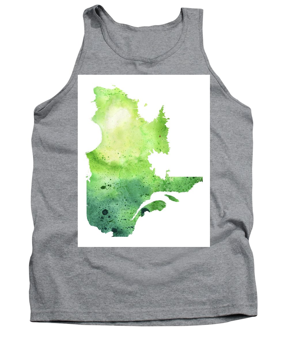 Canada Tank Top featuring the painting Watercolor Map Of Quebec, Canada In Green by Andrea Hill