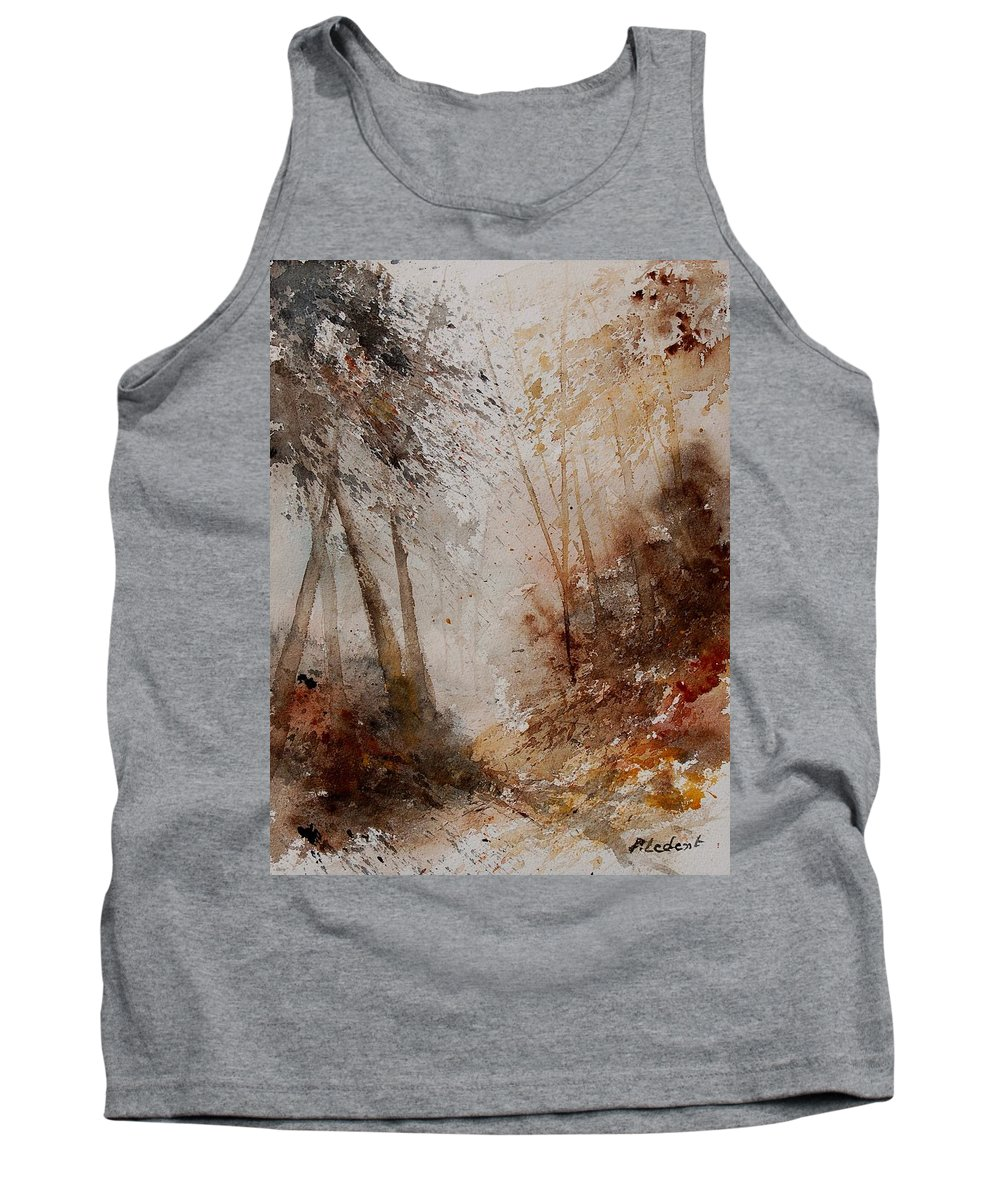 Landscape Tank Top featuring the painting Watercolor Misty Path by Pol Ledent