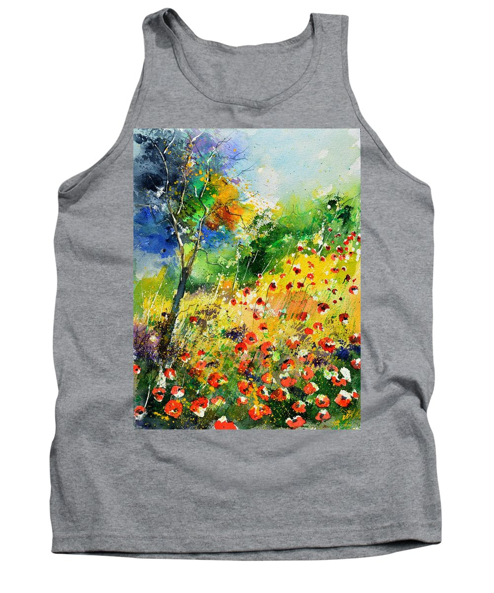 Poppies Tank Top featuring the painting Watercolor poppies 518001 by Pol Ledent