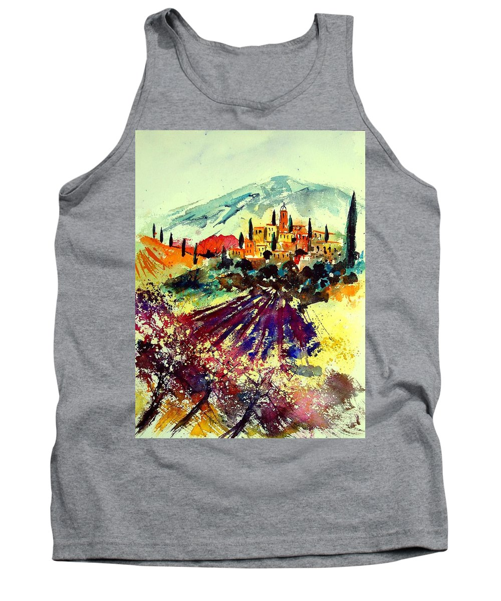 Poppies Tank Top featuring the painting Watercolor Provence 07 by Pol Ledent