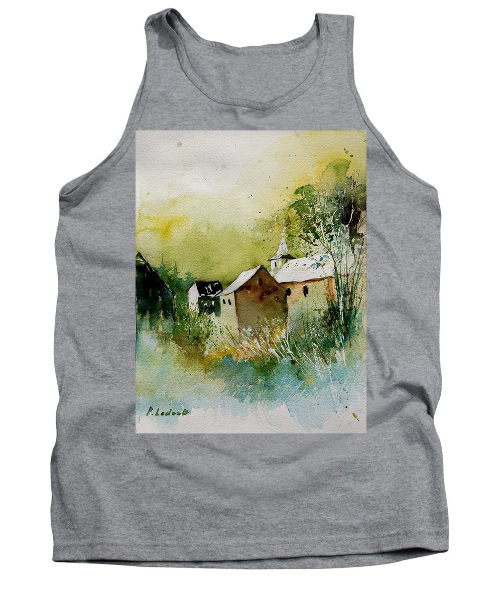 Landscape Tank Top featuring the painting Watercolor Sosoye by Pol Ledent