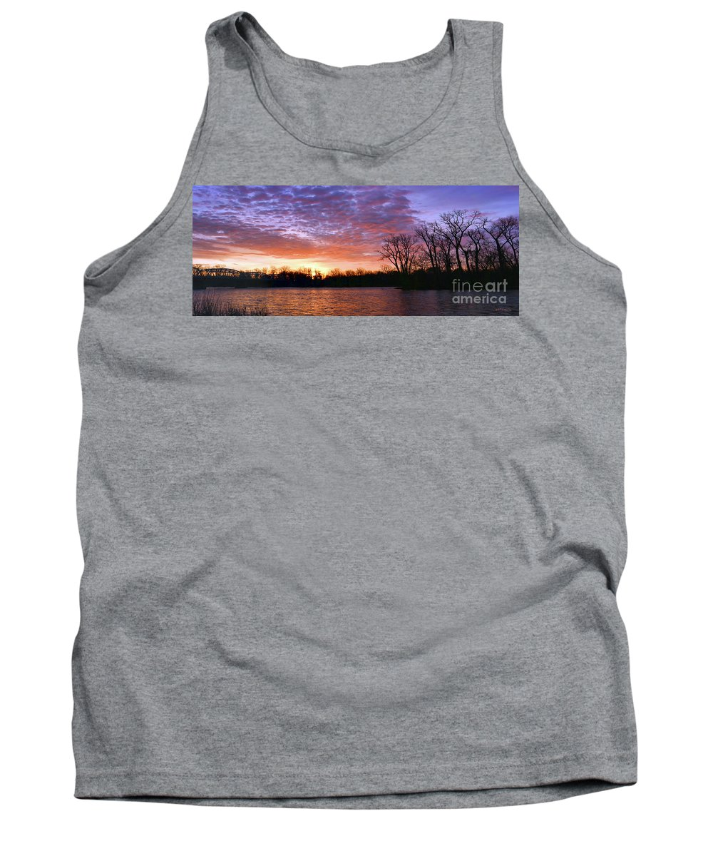 Waterville Tank Top featuring the photograph Waterville Sunrise Panorama 0002 0003 Signed by Jack Schultz