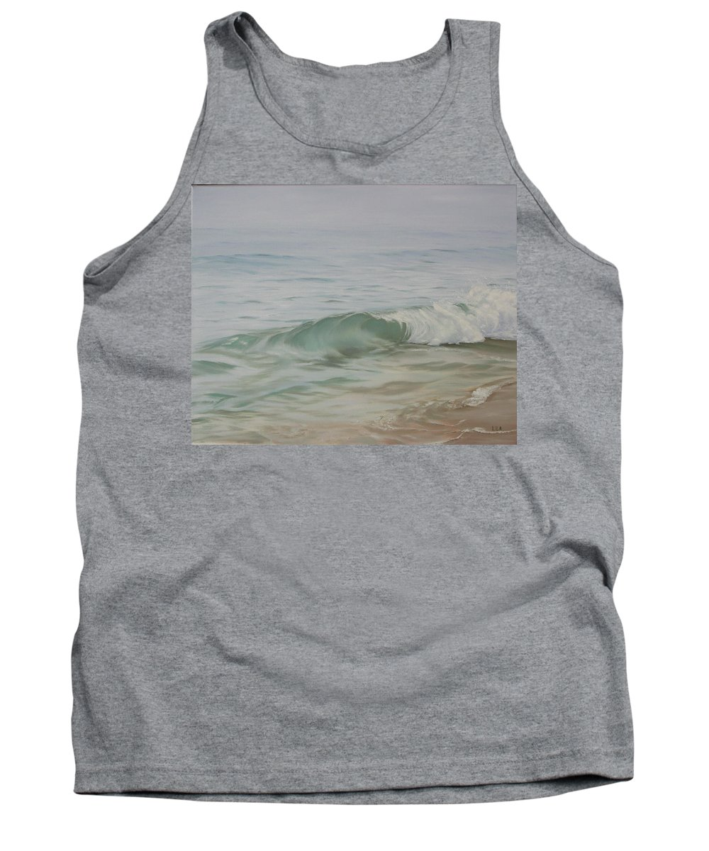 Seascape Tank Top featuring the painting Waves Out Of The Fog by Lea Novak