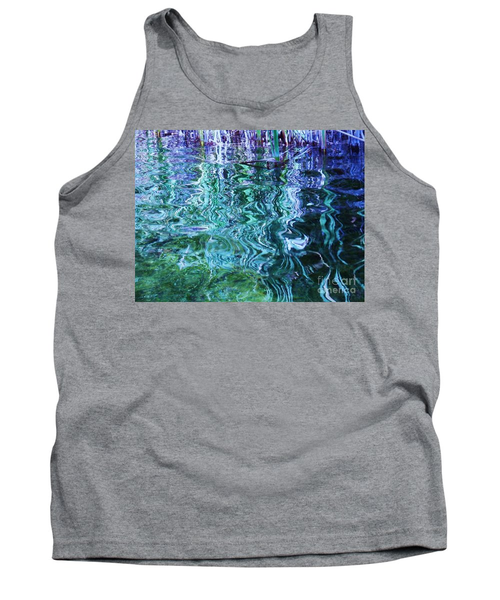 Photograph Blue Green Weed Shadow Lake Water Tank Top featuring the photograph Weed Shadows by Seon-Jeong Kim
