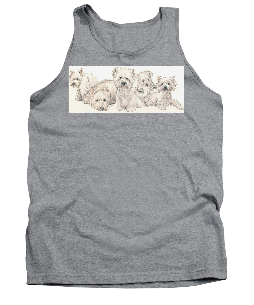 Terrier Group Tank Top featuring the mixed media West Highland White Terrier Puppies by Barbara Keith