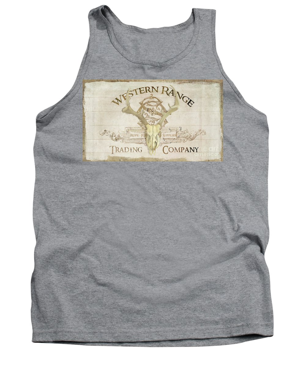 Western Tank Top featuring the painting Western Range 3 Old West Deer Skull Wooden Sign Trading Company by Audrey Jeanne Roberts