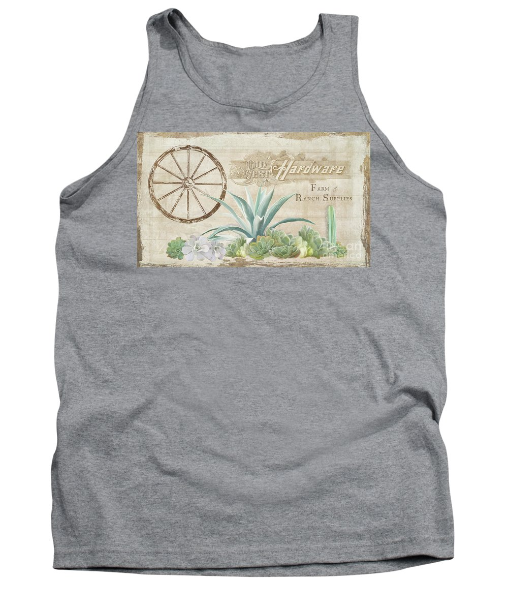 Farm Tank Top featuring the painting Western Range 4 Old West Desert Cactus Farm Ranch Wooden Sign Hardware by Audrey Jeanne Roberts