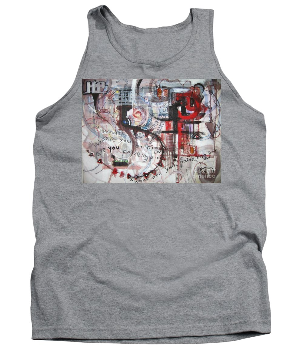 Abstract Paintings Tank Top featuring the painting What Are You Painting-red And Brown Painting by Seon-Jeong Kim