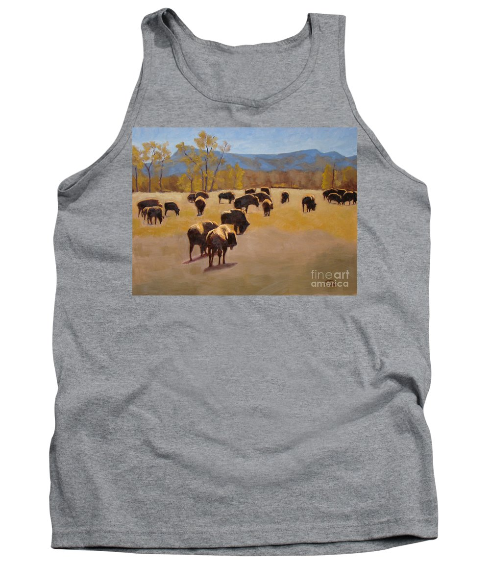Buffalo Tank Top featuring the painting Where The Buffalo Roam by Tate Hamilton