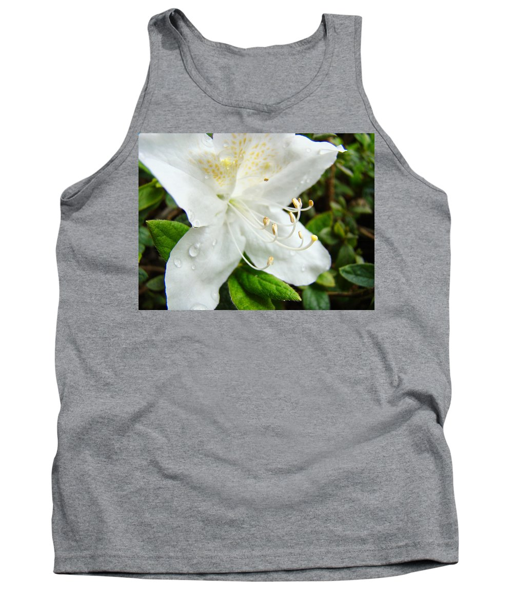 �azaleas Artwork� Tank Top featuring the photograph White Azalea Flower 9 Azaleas Raindrops Spring Art Prints Baslee Troutman by Baslee Troutman