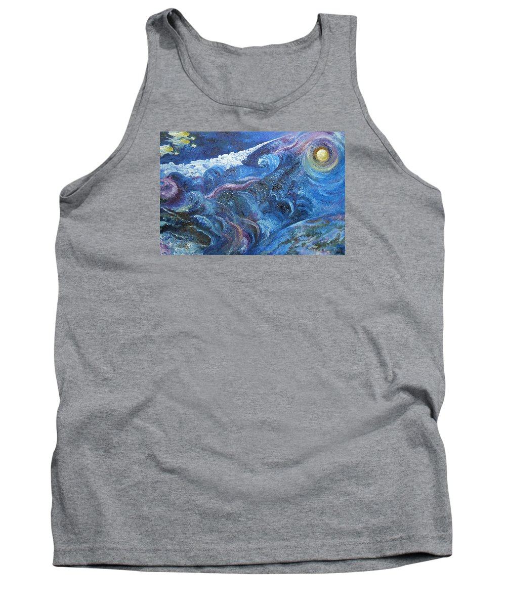 Baby Lambs Tank Top featuring the painting White Baby Lambs Of Peaceful Nights by Karina Ishkhanova