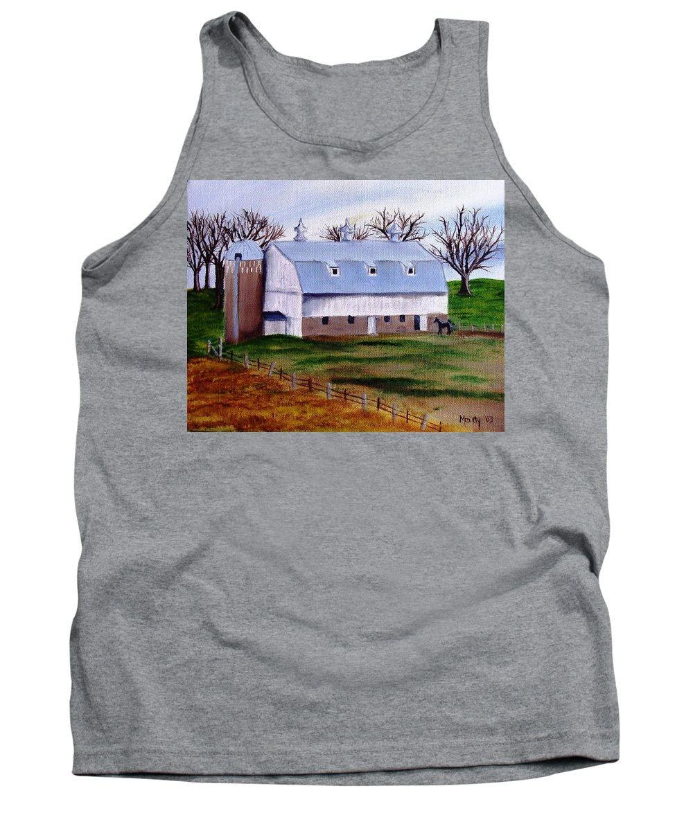 White Tank Top featuring the painting White Barn On A Cloudy Day by Mendy Pedersen