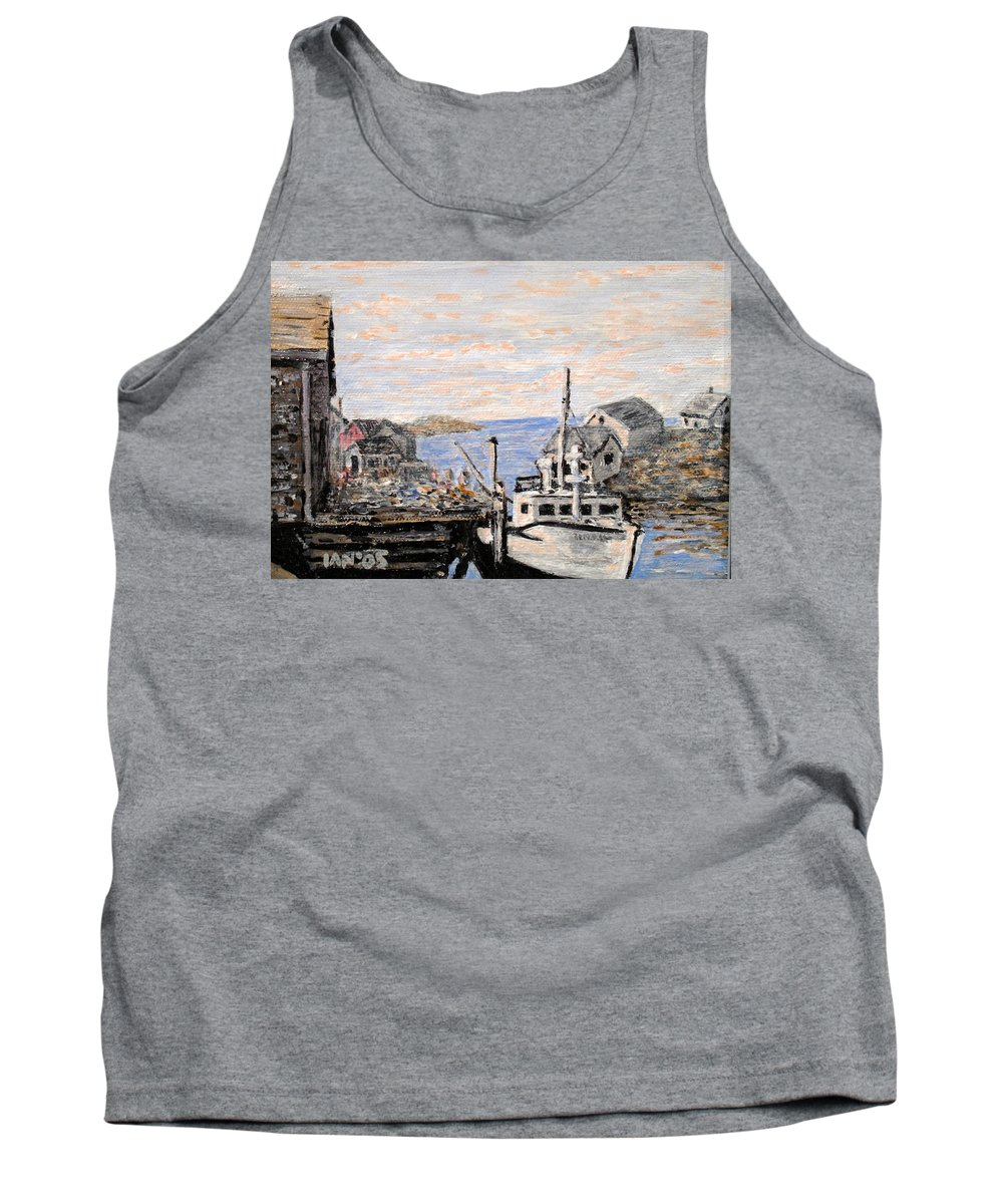 White Tank Top featuring the painting White Boat In Peggys Cove Nova Scotia by Ian MacDonald