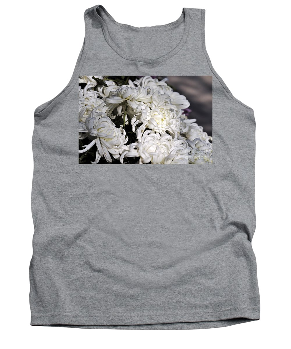 Clay Tank Top featuring the photograph White Chrysanthemum by Clayton Bruster