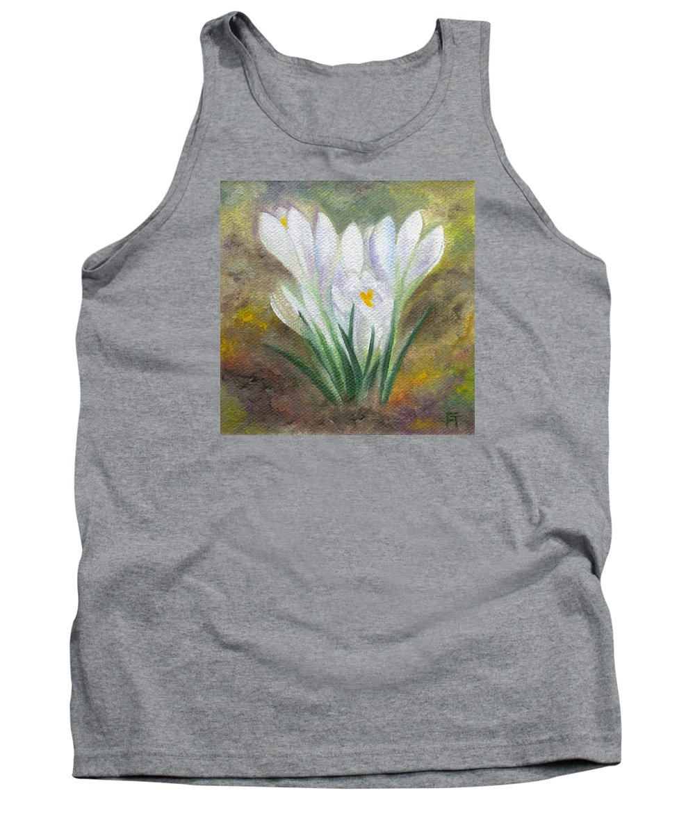 Bulbs Tank Top featuring the painting White Crocus by FT McKinstry