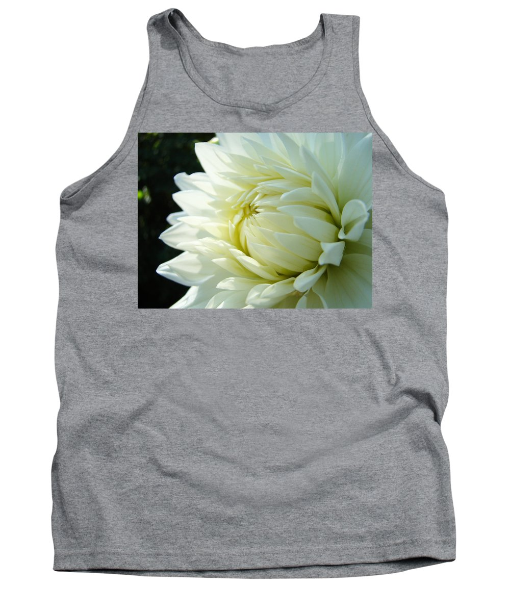 Dahlia Tank Top featuring the photograph White Dahlia Flower Art Print Canvas Floral Dahlias Baslee Troutman by Baslee Troutman
