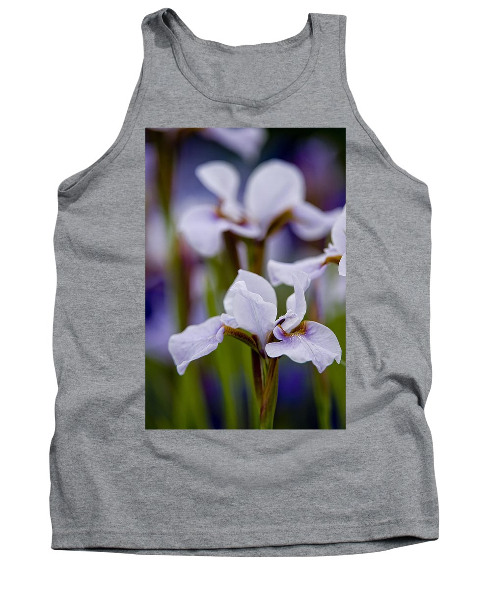 Gardens Tank Top featuring the photograph White Japanese Iris by Michael Cummings