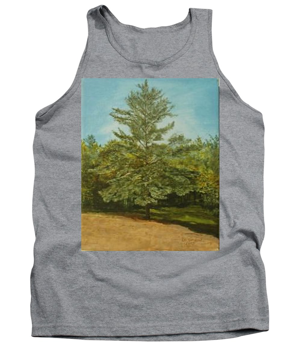 Pine Tree Tank Top featuring the painting White Lake by Leah Tomaino