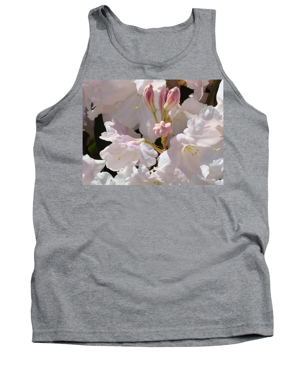 Rhodie Tank Top featuring the photograph White Rhodies Pink Rhododendrons Flowers Art Prints Canvas Botanical Baslee Troutman by Baslee Troutman