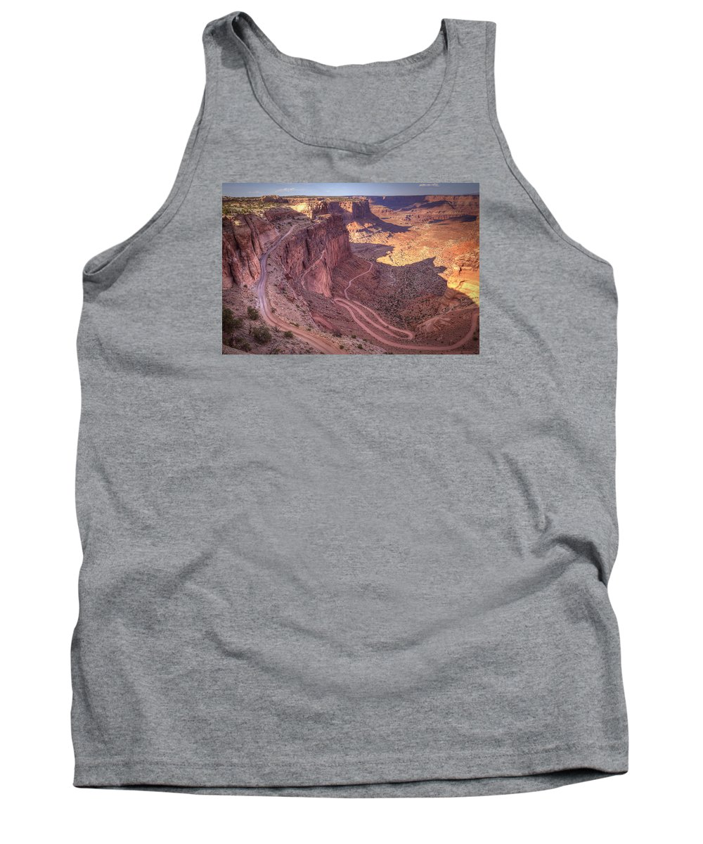 Robert Melvin Tank Top featuring the photograph White Rim Road by Robert Melvin