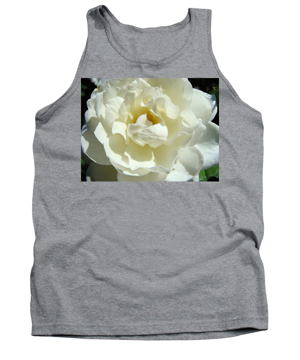 Rose Tank Top featuring the photograph White Rose Art Prints Summer Sunlit Roses Baslee Troutman by Baslee Troutman