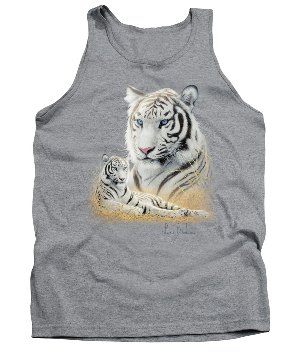 Tiger Tank Top featuring the painting White Tiger by Lucie Bilodeau