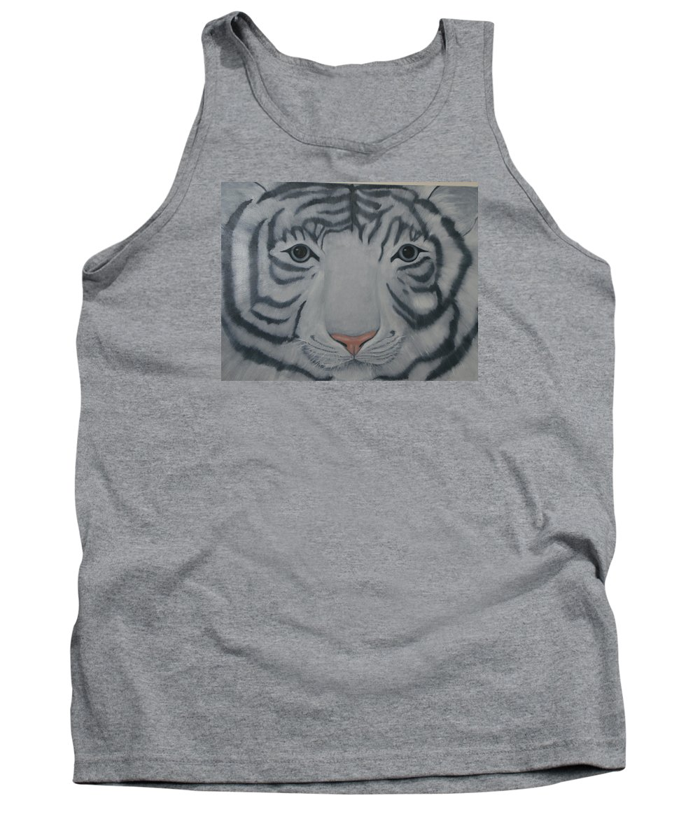 White Tiger Tank Top featuring the painting White Tiger by Toni Berry
