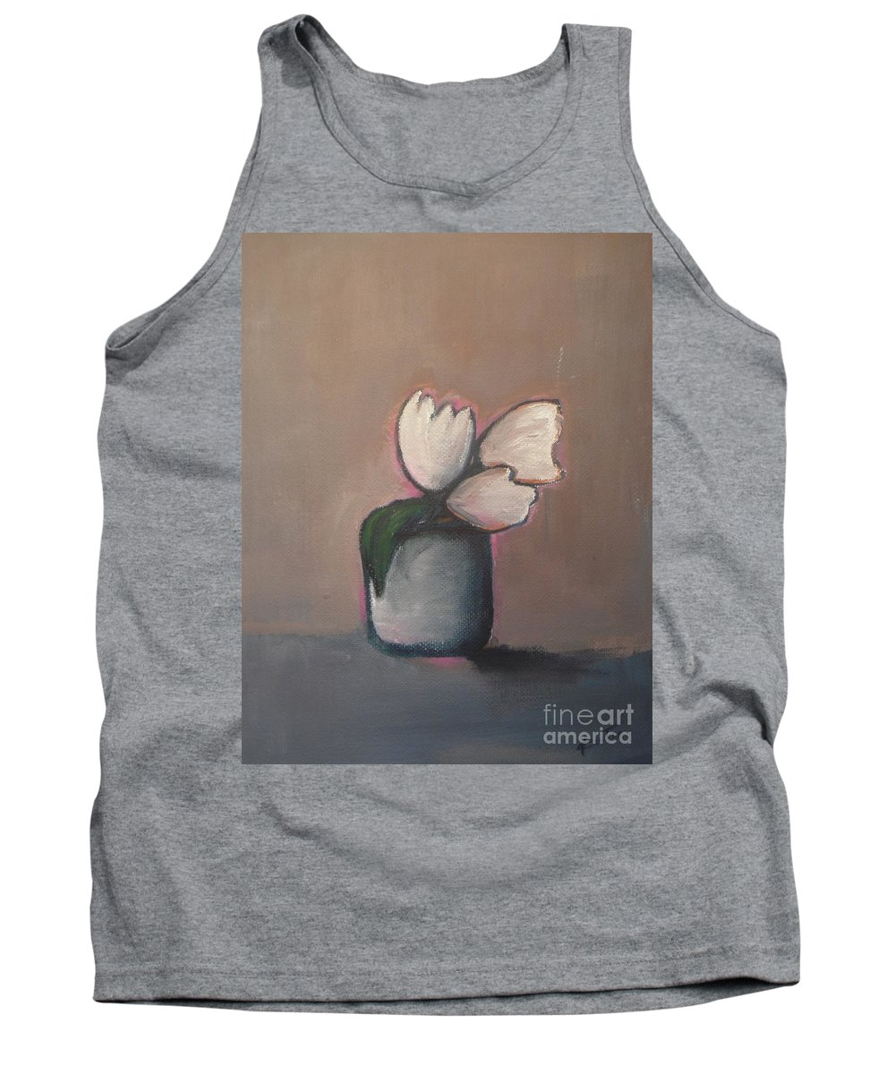 Abstract Tank Top featuring the painting White Tulips - Abstract Art by Vesna Antic