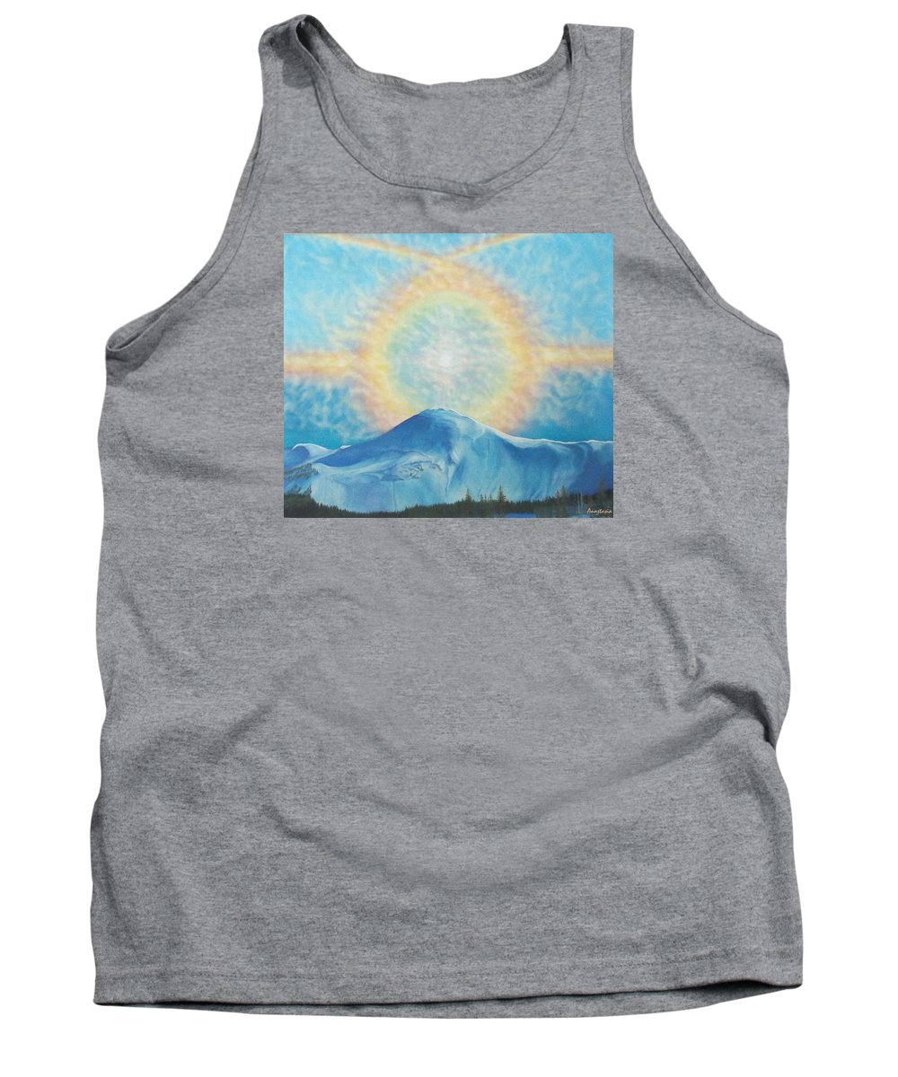 Sun Rainbow Tank Top featuring the painting Who Makes The Clouds His Chariot Fire Rainbow Over Alberta Peak by Anastasia Savage Ealy