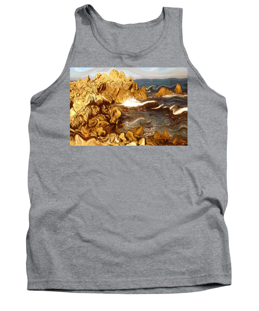 California Tank Top featuring the painting Wild California Coast - Modern Art by Peter Potter