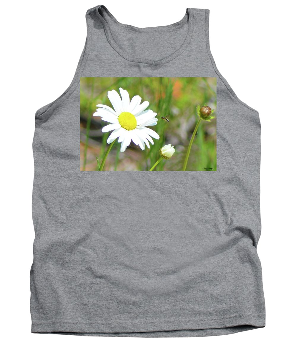 Daisy Tank Top featuring the pyrography Wild Daisy With Visitor by Sally Sperry