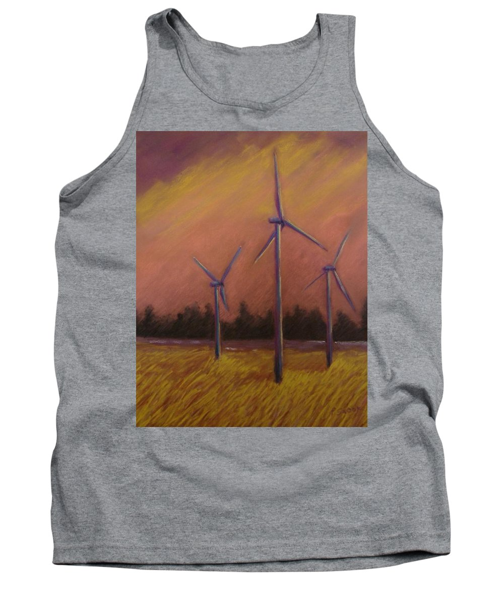Wind Turbine Tank Top featuring the pastel Wind And Wheat by Pat Snook